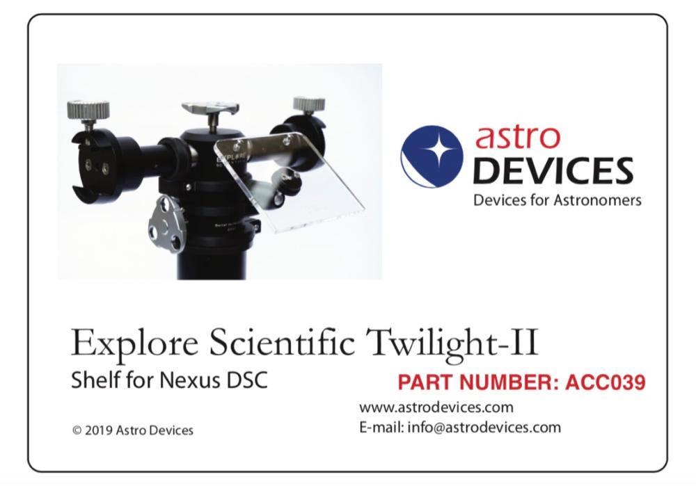 Nexus DSC shelf for Explore Scientific Twilight-II mount